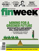 Cover of the Finweek magazine with green and gray cover with a balance beam